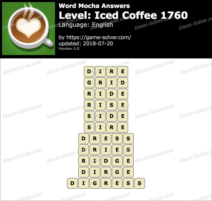 Word Mocha Iced Coffee 1760 Answers