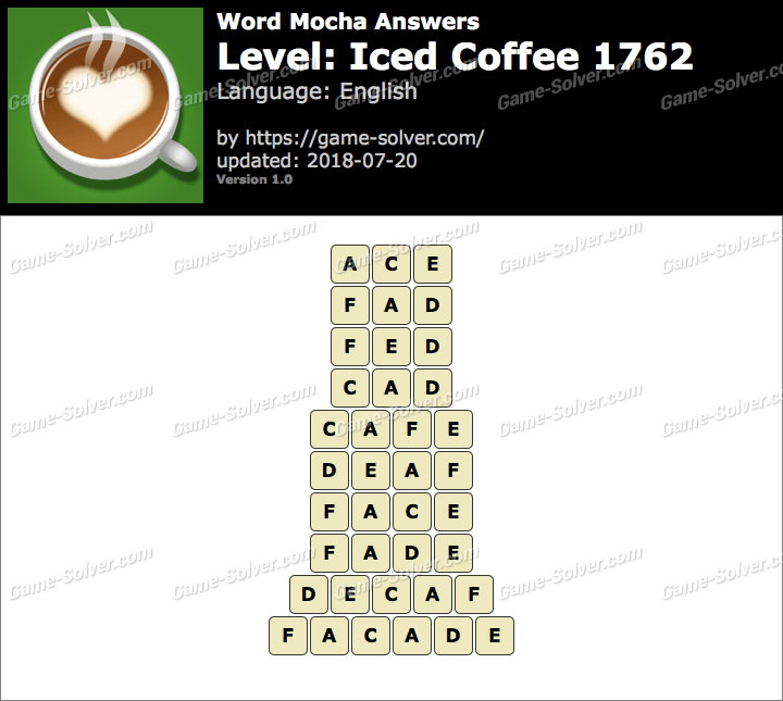 Word Mocha Iced Coffee 1762 Answers