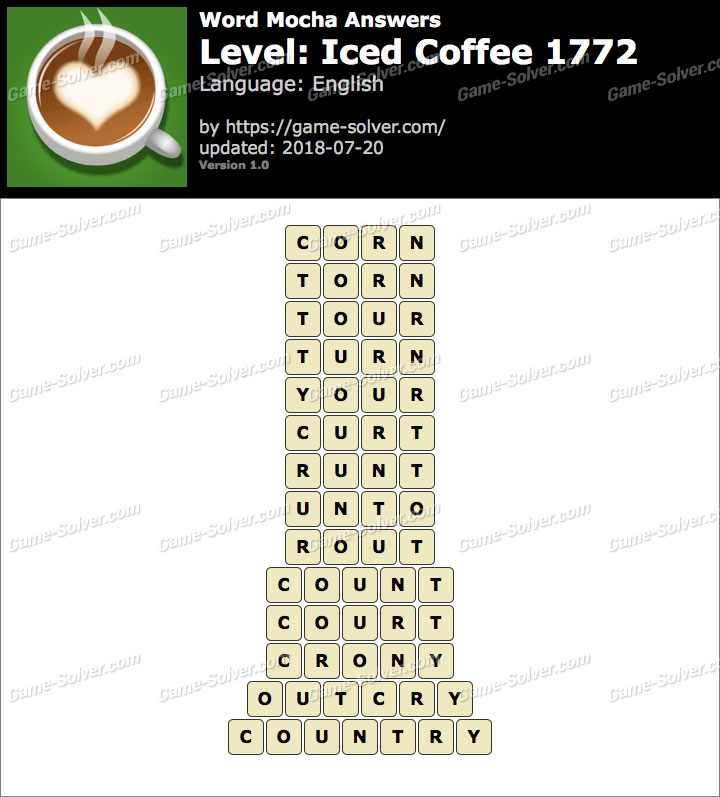 Word Mocha Iced Coffee 1772 Answers