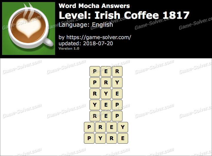 Word Mocha Irish Coffee 1817 Answers