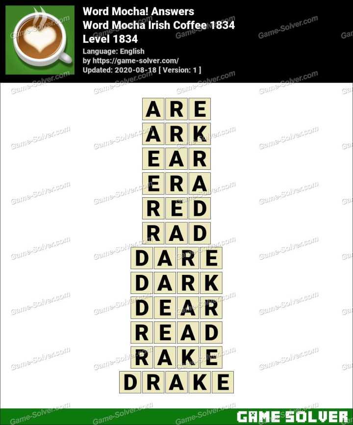 Word Mocha Irish Coffee 1834 Answers