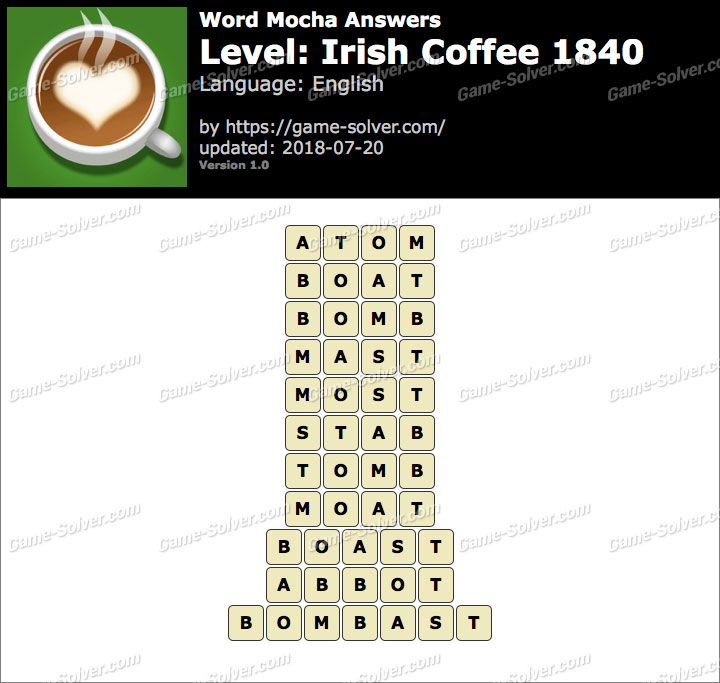 Word Mocha Irish Coffee 1840 Answers