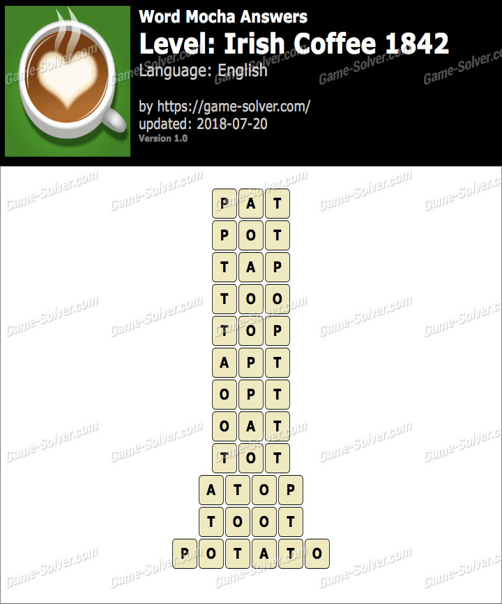 Word Mocha Irish Coffee 1842 Answers