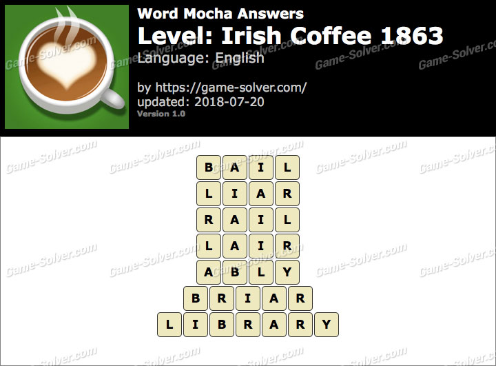 Word Mocha Irish Coffee 1863 Answers