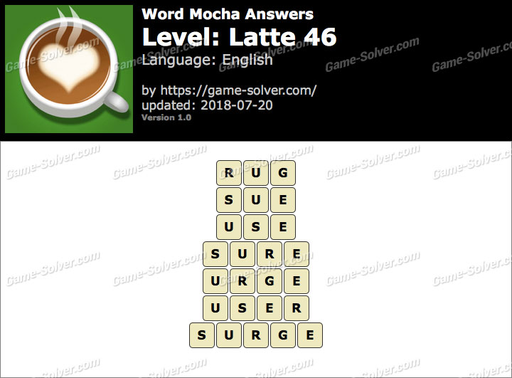 Word Mocha Latte 46 Answers