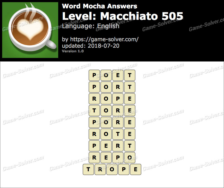 Word Mocha Macchiato 505 Answers