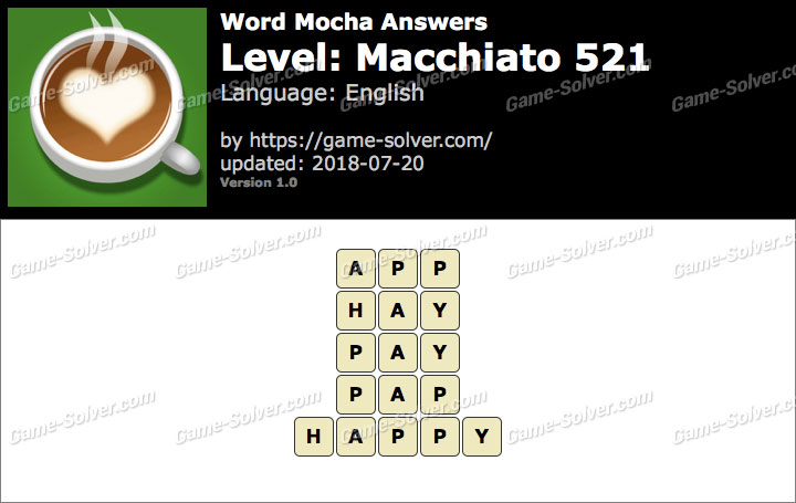 Word Mocha Macchiato 521 Answers