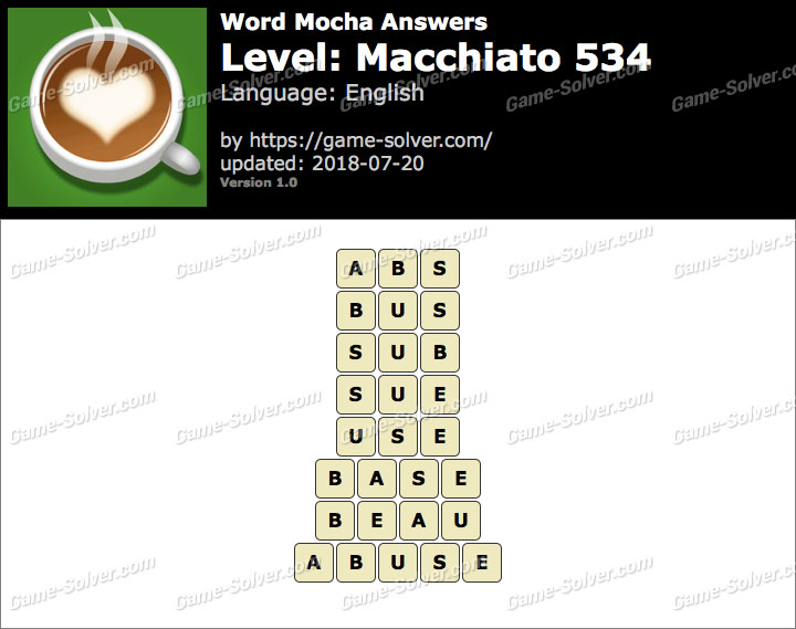 Word Mocha Macchiato 534 Answers