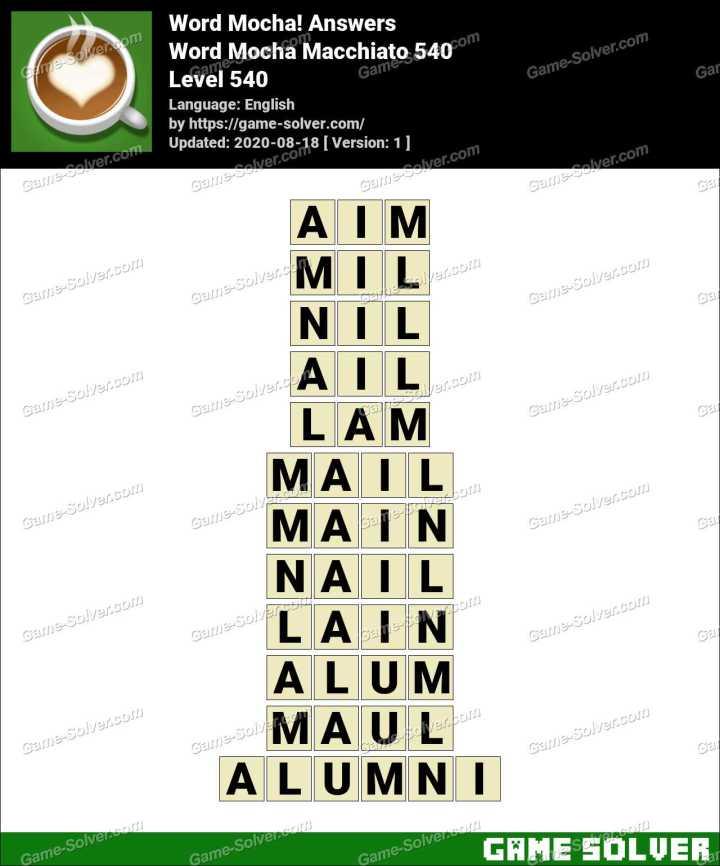 Word Mocha Macchiato 540 Answers