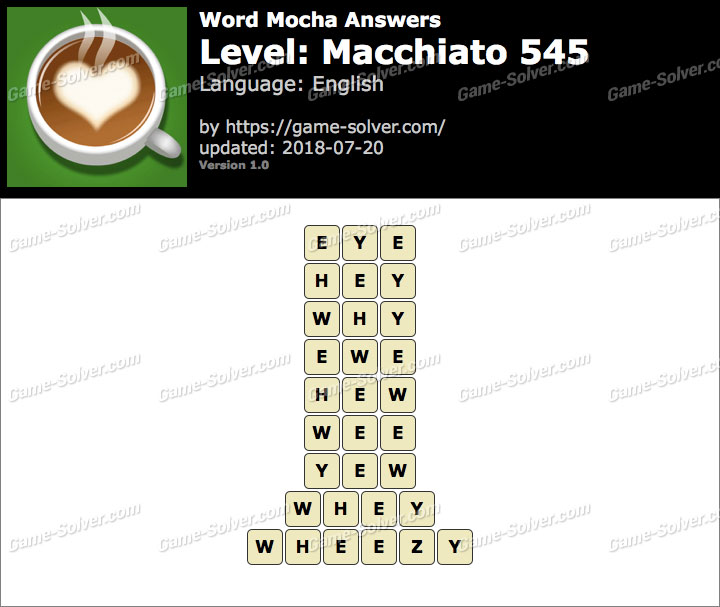Word Mocha Macchiato 545 Answers