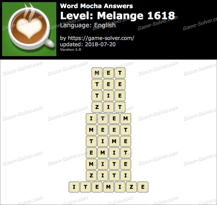 Word Mocha Melange 1618 Answers