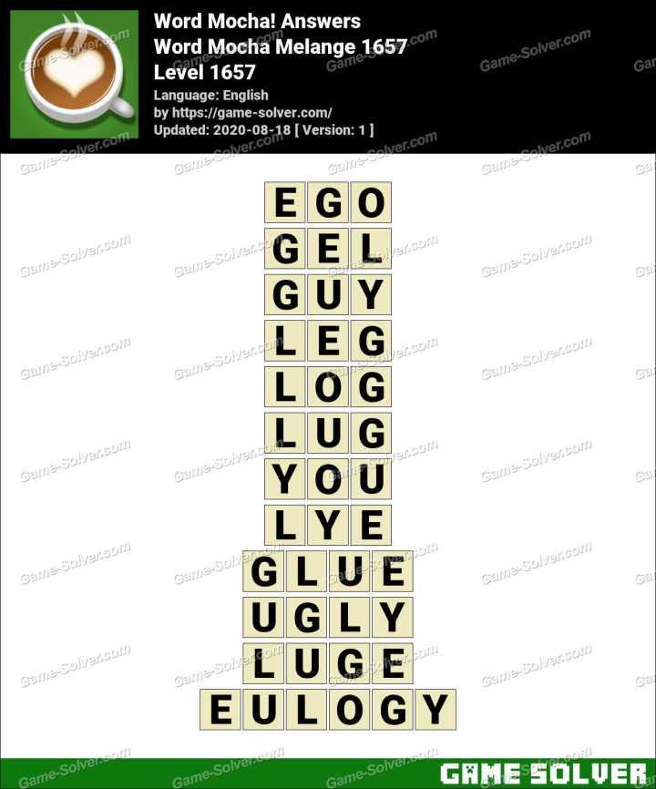 Word Mocha Melange 1657 Answers