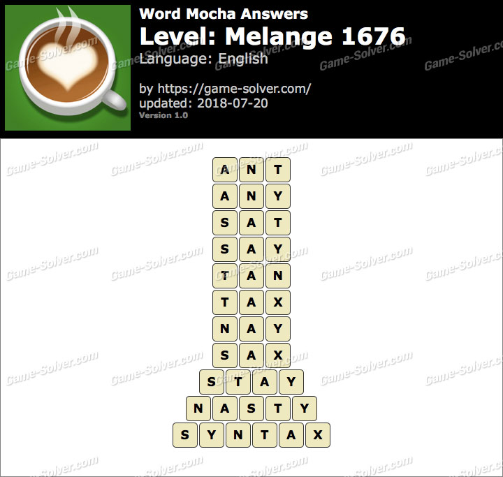 Word Mocha Melange 1676 Answers
