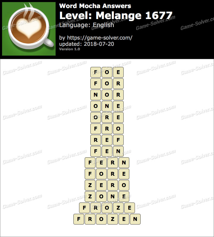 Word Mocha Melange 1677 Answers