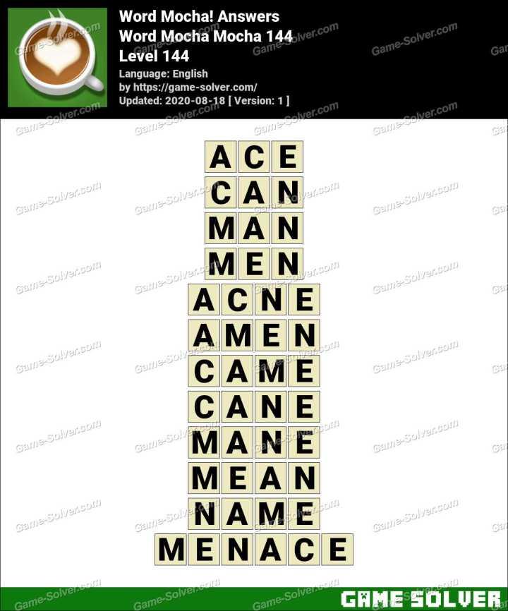 Word Mocha Mocha 144 Answers