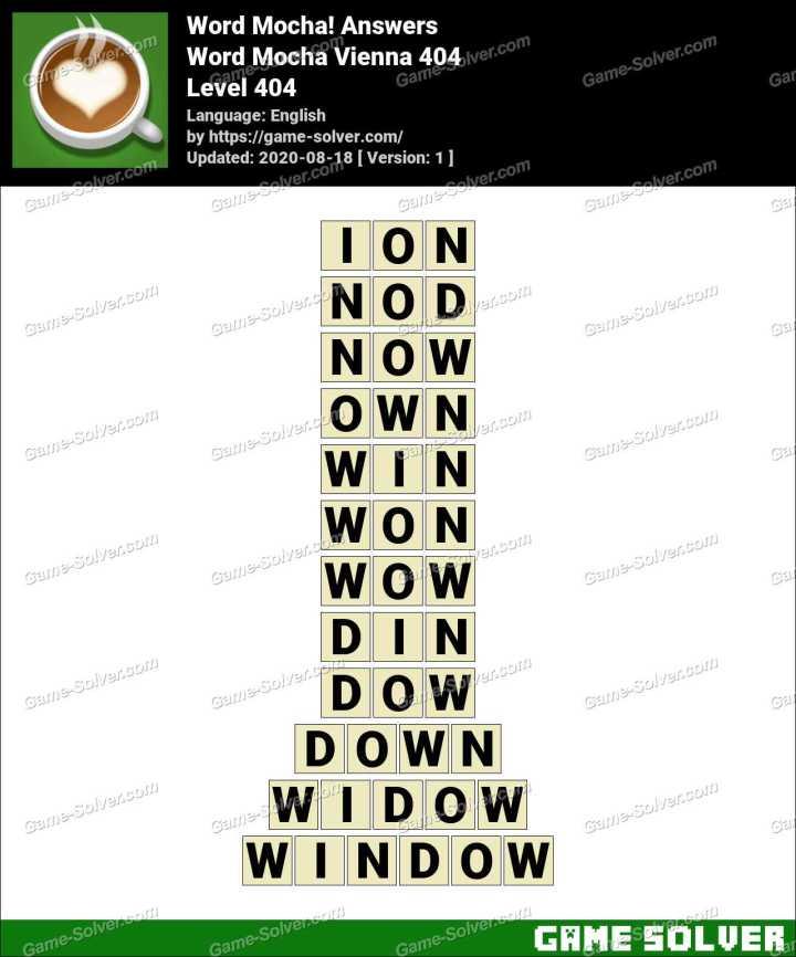 Word Mocha Vienna 404 Answers