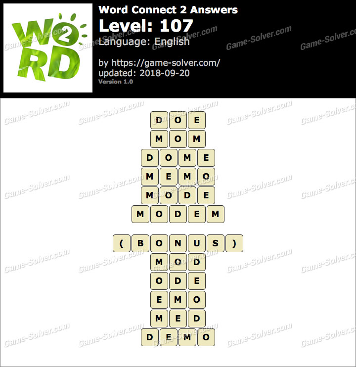 Word Connect 2 Level 107 Answers
