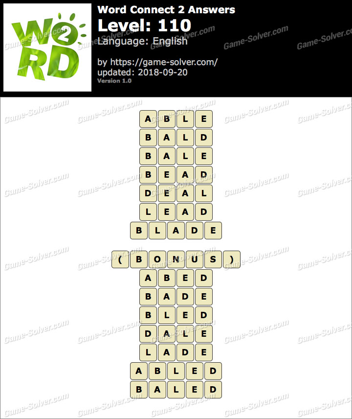 Word Connect 2 Level 110 Answers