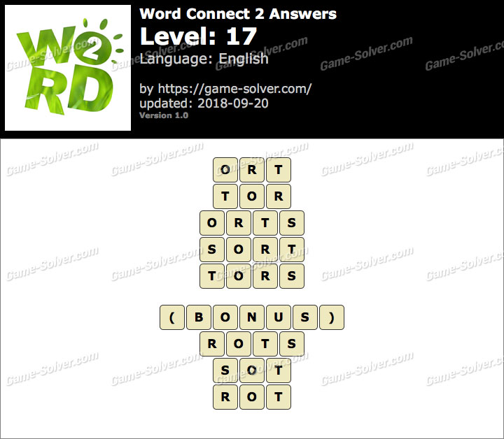 Word Connect 2 Level 17 Answers