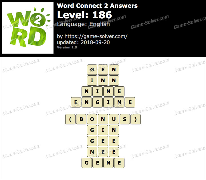 Word Connect 2 Level 186 Answers