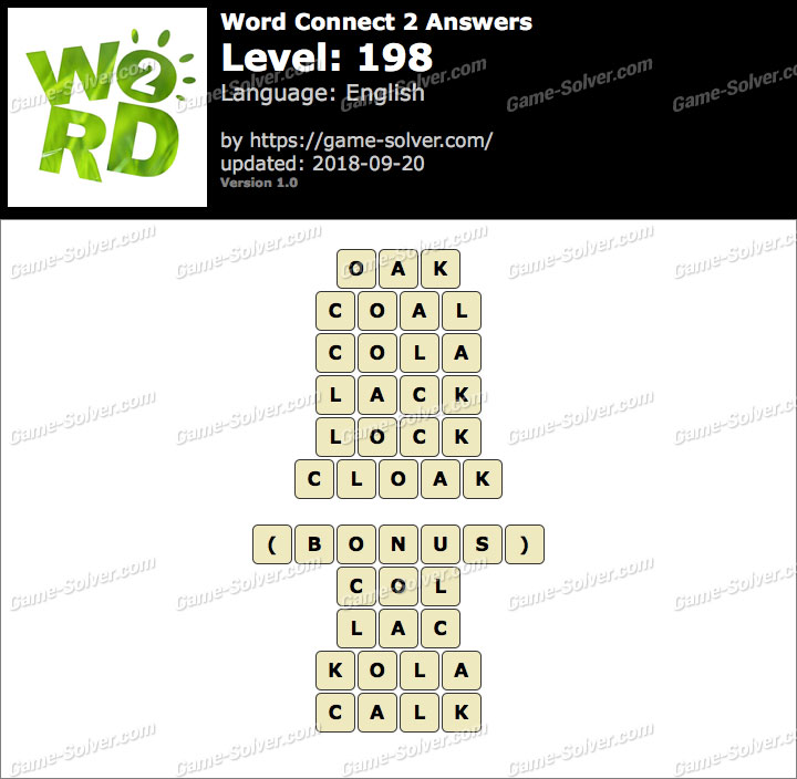 Word Connect 2 Level 198 Answers