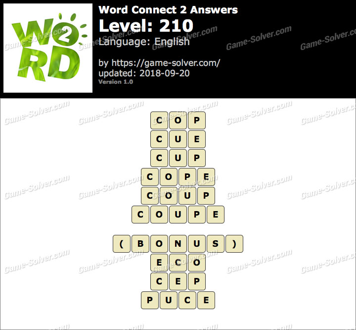 Word Connect 2 Level 210 Answers