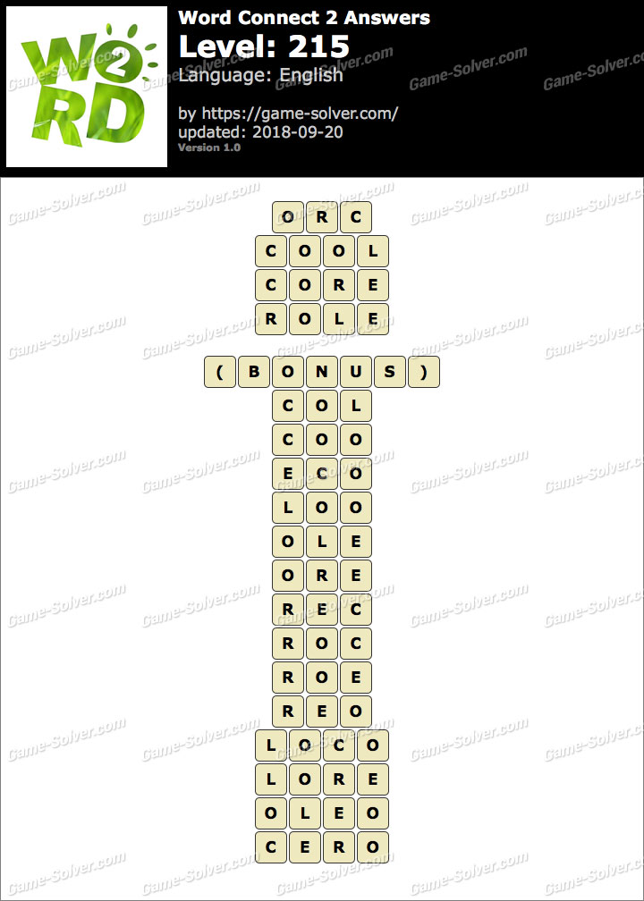 Word Connect 2 Level 215 Answers