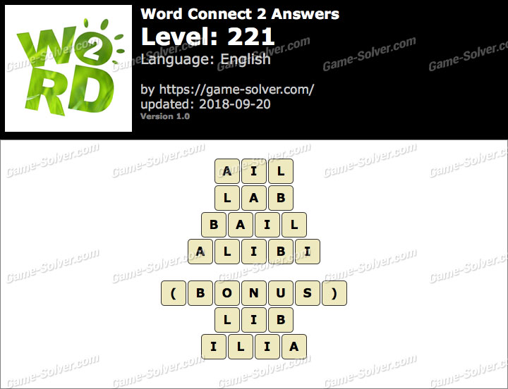 Word Connect 2 Level 221 Answers