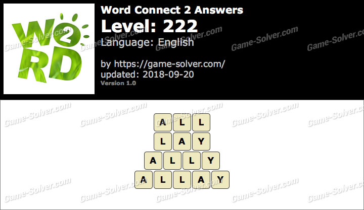 Word Connect 2 Level 222 Answers