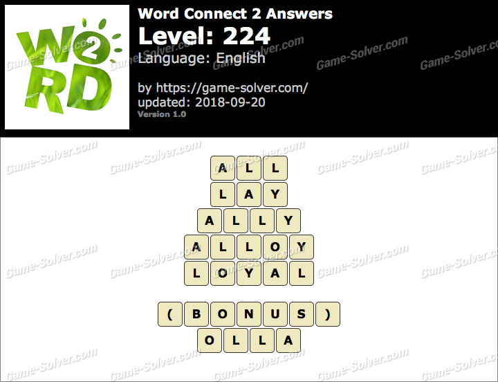 Word Connect 2 Level 224 Answers