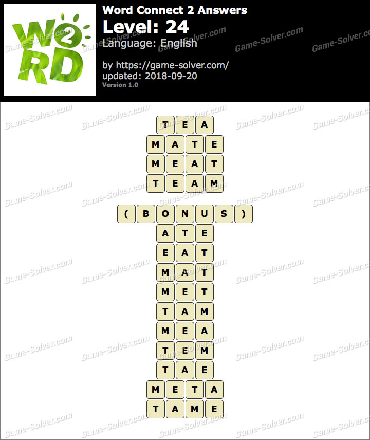 Word Connect 2 Level 24 Answers
