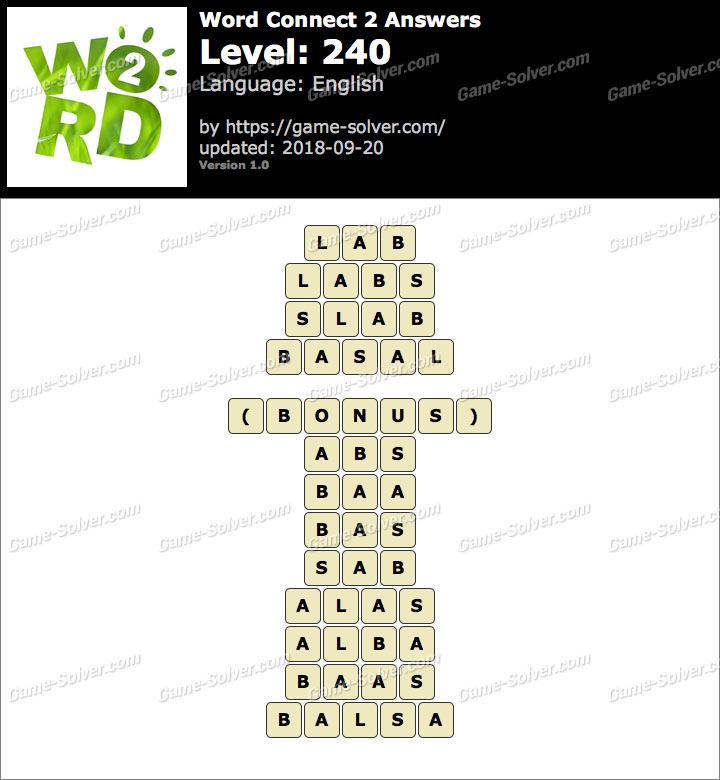 Word Connect 2 Level 240 Answers