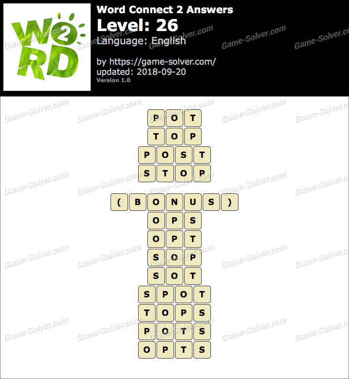 Word Connect 2 Level 26 Answers