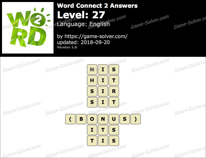 Word Connect 2 Level 27 Answers