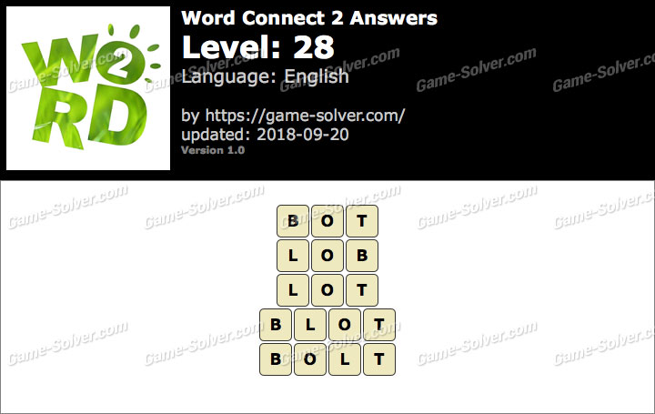 Word Connect 2 Level 28 Answers
