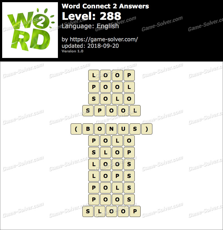 Word Connect 2 Level 288 Answers