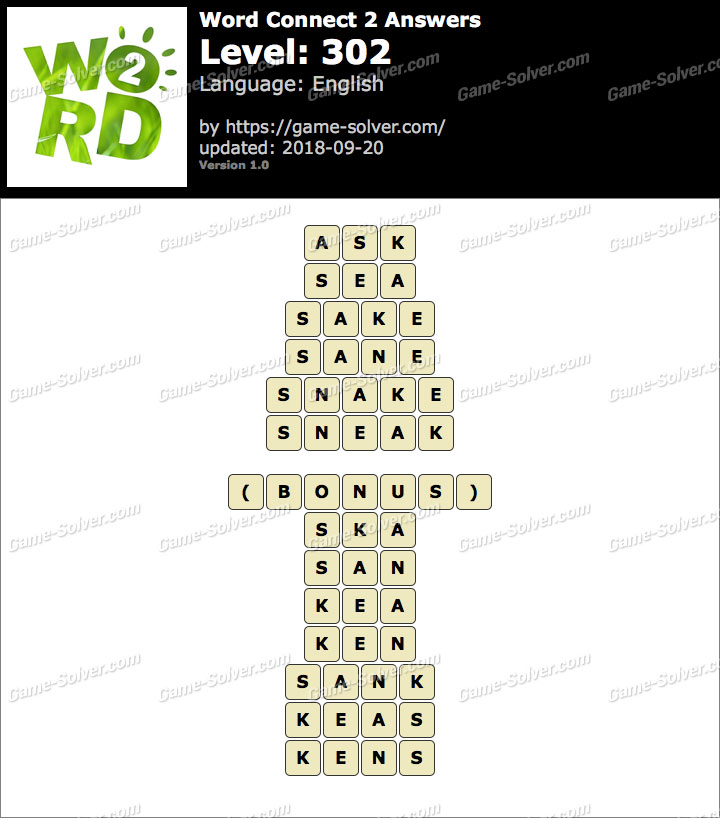 Word Connect 2 Level 302 Answers