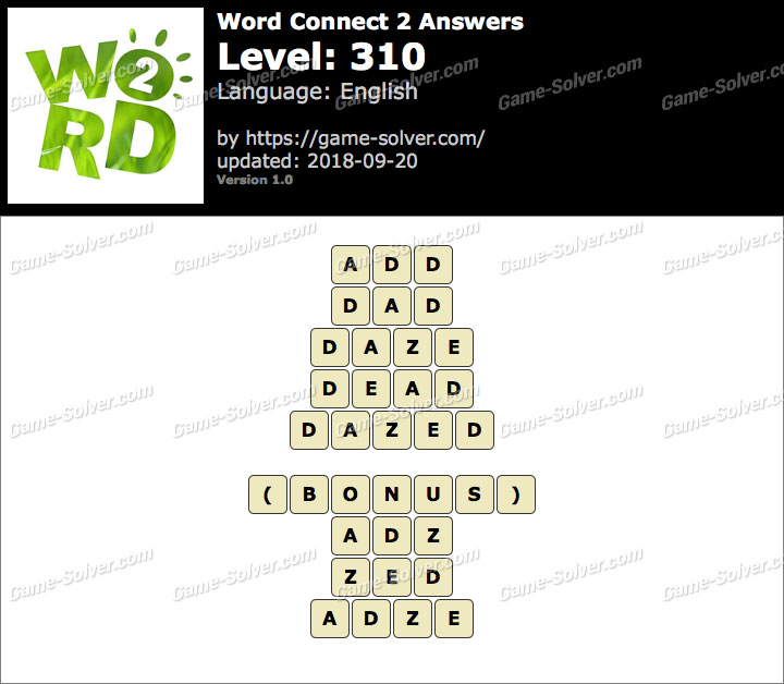 Word Connect 2 Level 310 Answers