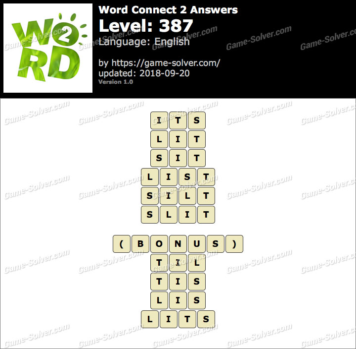 Word Connect 2 Level 387 Answers