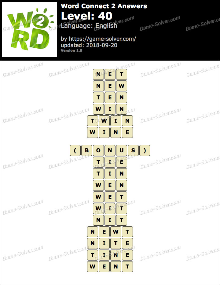 Word Connect 2 Level 40 Answers