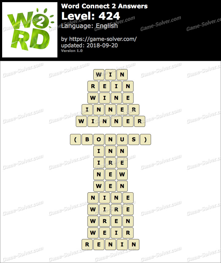 Word Connect 2 Level 424 Answers