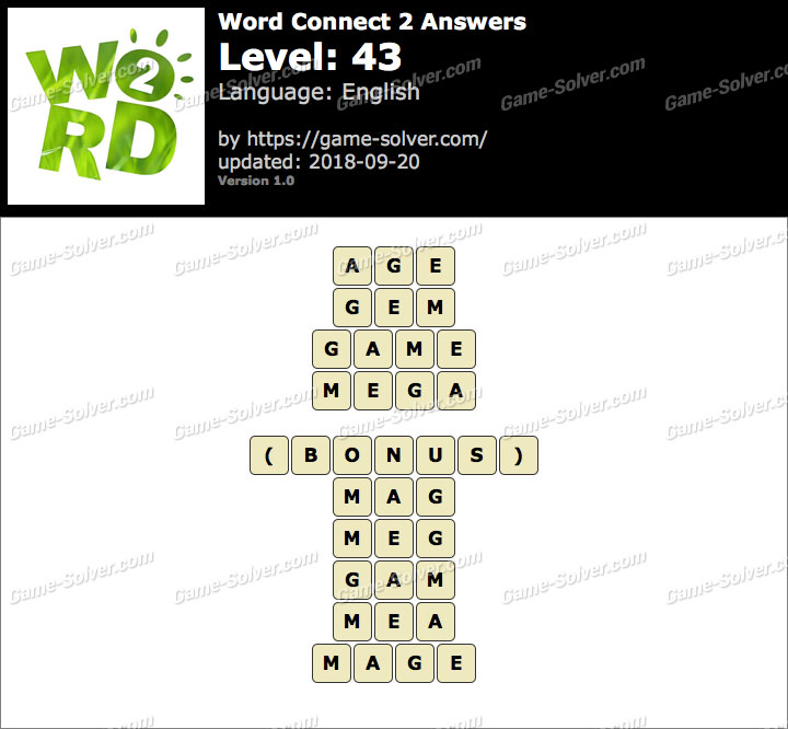 Word Connect 2 Level 43 Answers