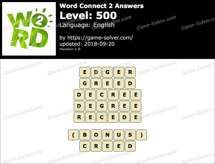 Word Connect 2 Level 500 Answers