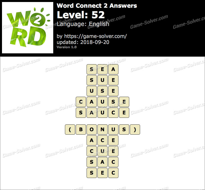 Word Connect 2 Level 52 Answers