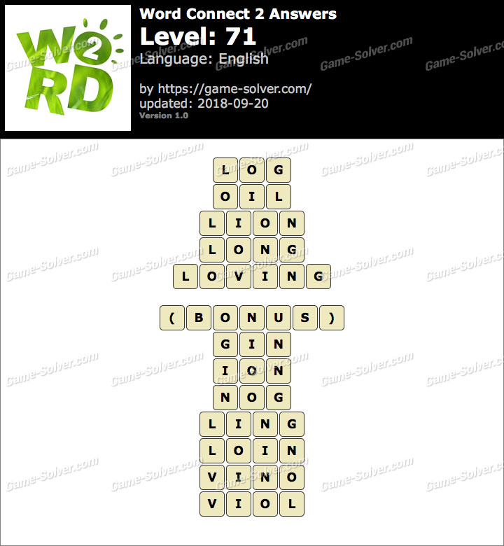 Word Connect 2 Level 71 Answers