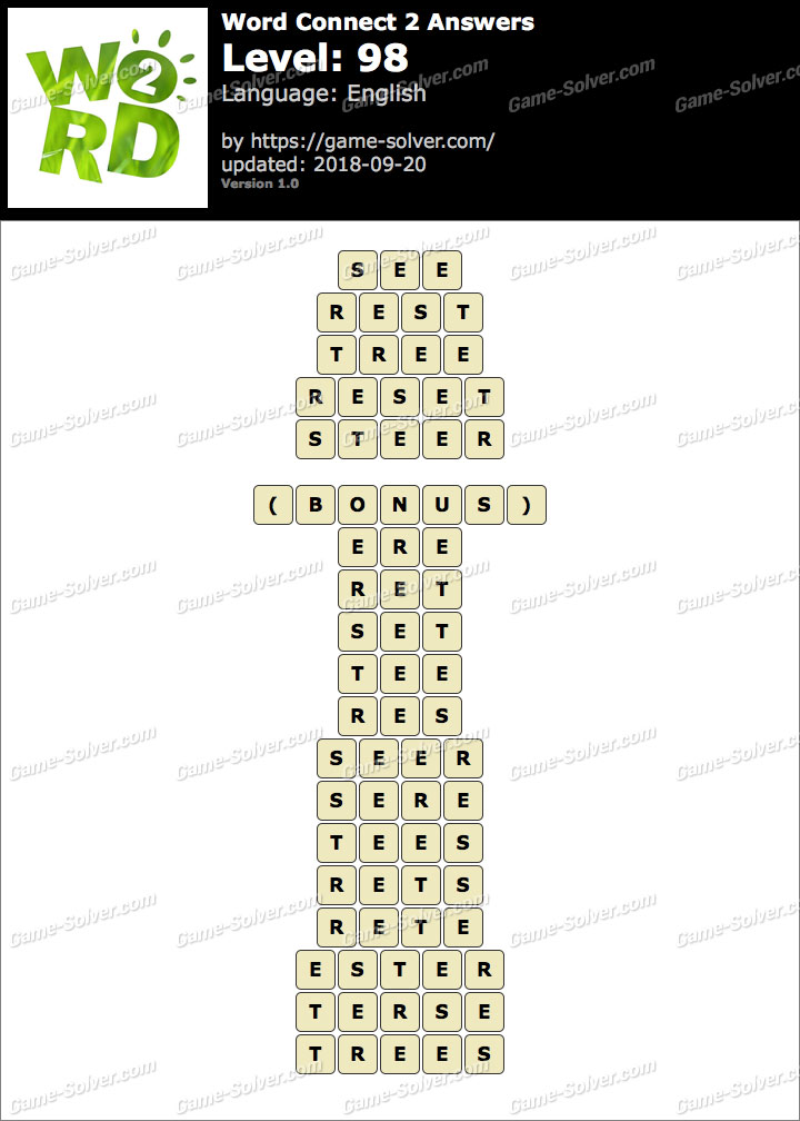 Word Connect 2 Level 98 Answers