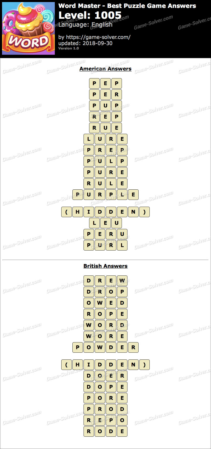 Word Master-Best Puzzle Game Level 1005 Answers