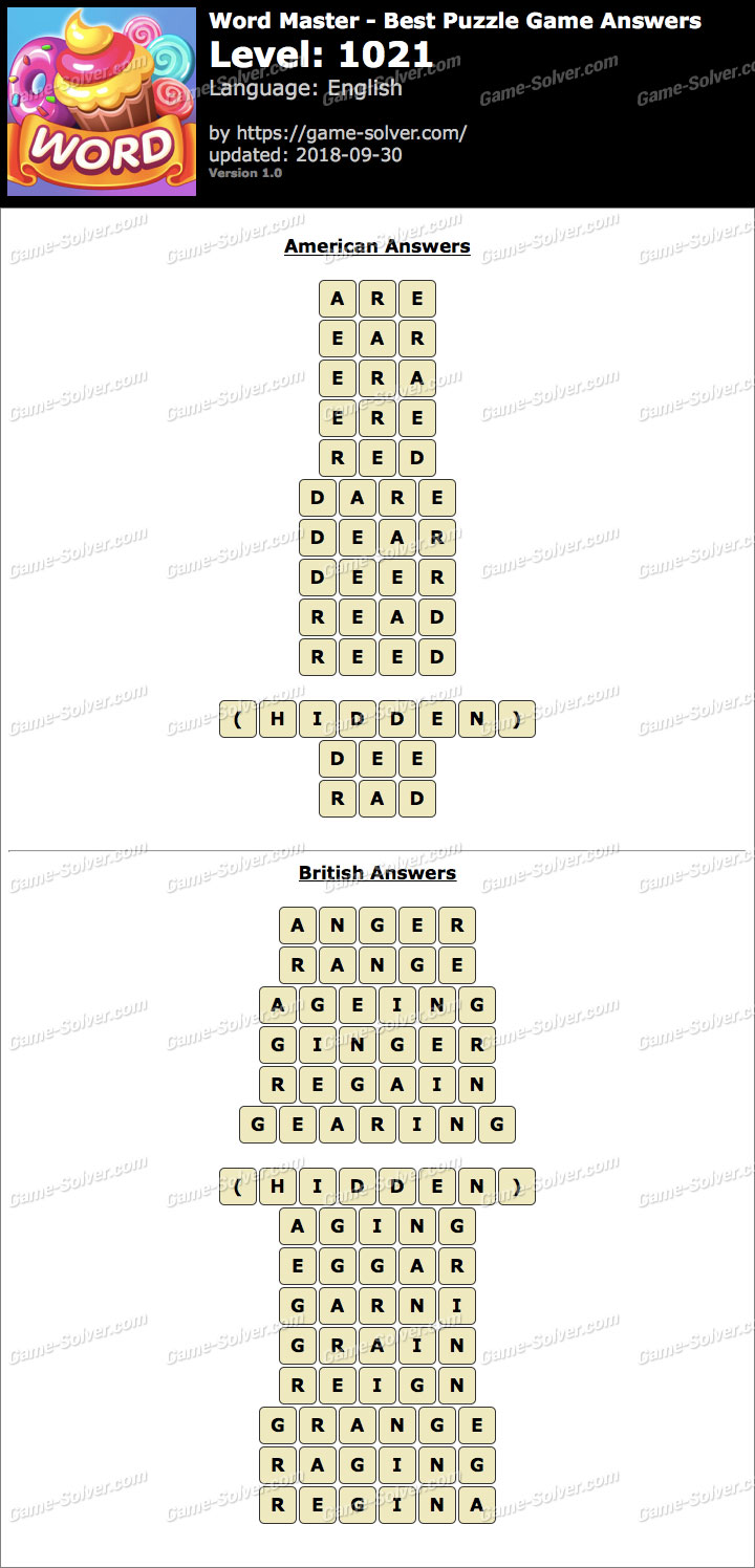 Word Master-Best Puzzle Game Level 1021 Answers