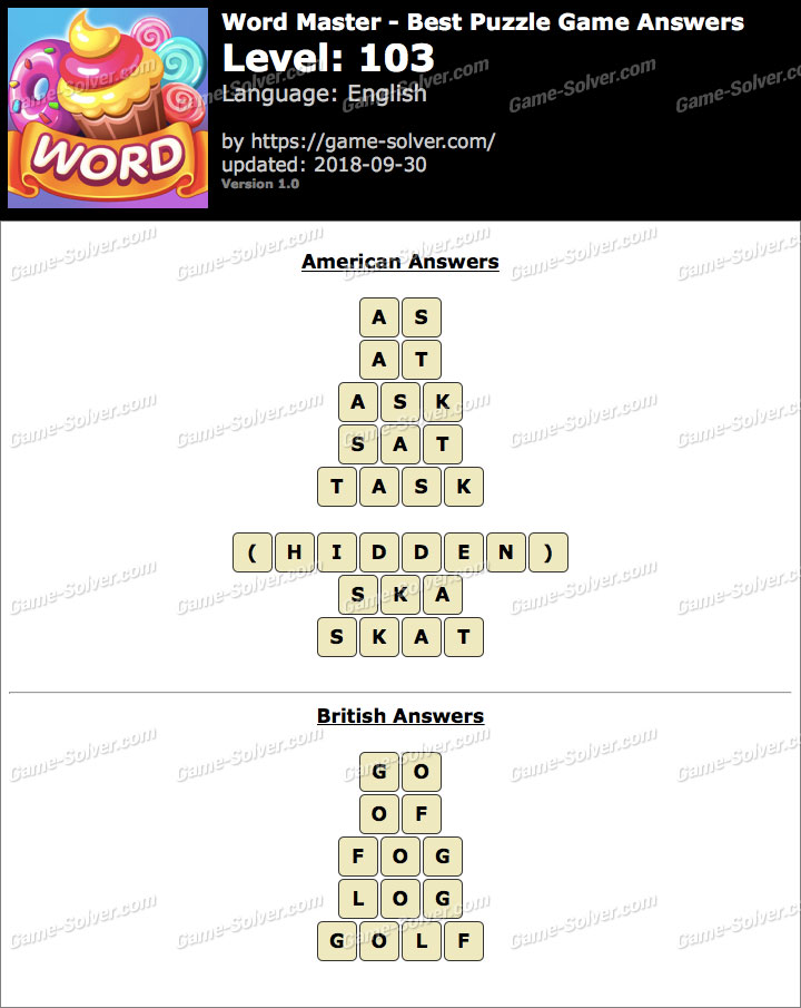 Word Master-Best Puzzle Game Level 103 Answers