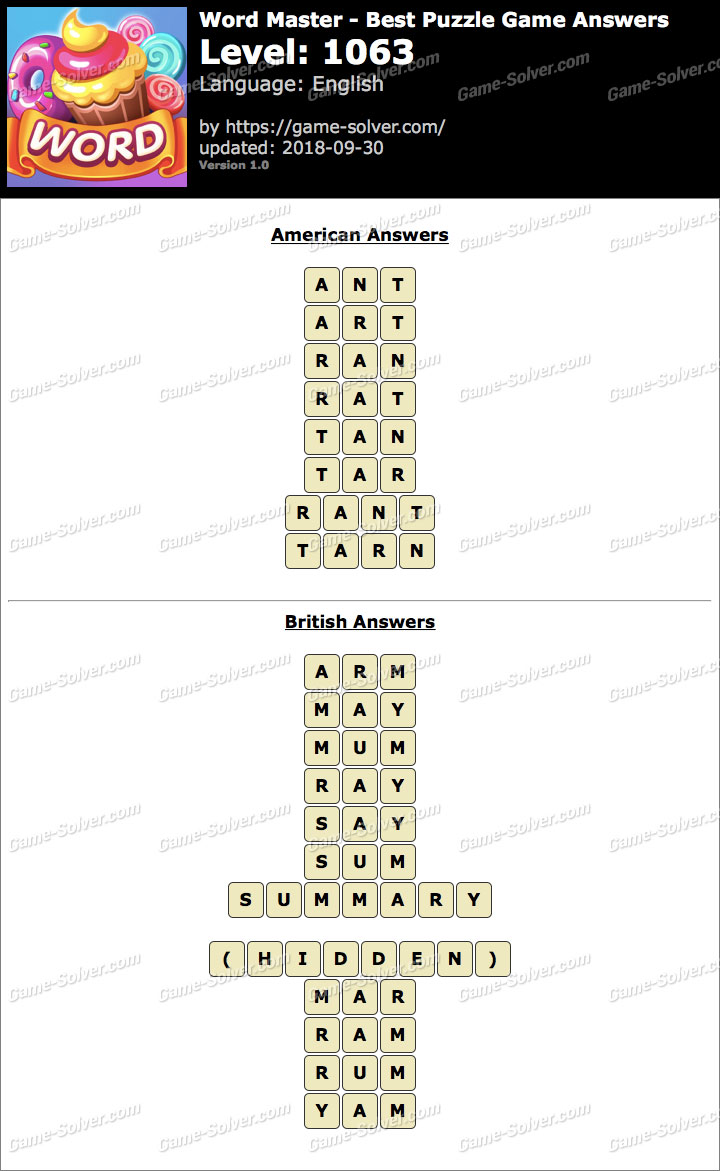 Word Master-Best Puzzle Game Level 1063 Answers